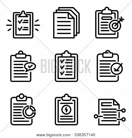 Summary Icons Set. Outline Set Of Summary Vector Icons For Web Design Isolated On White Background