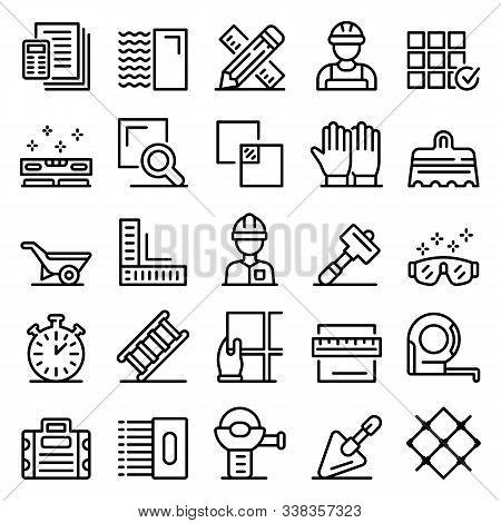 Tiler Icons Set. Outline Set Of Tiler Vector Icons For Web Design Isolated On White Background