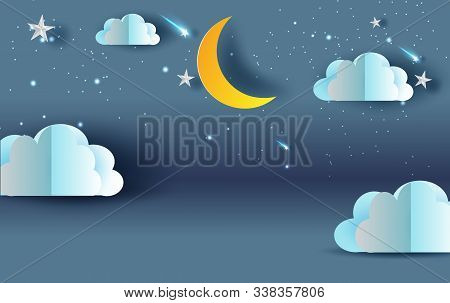 Scene Sky Fantasy.cloud And Shooting Star On Sky Night Sweet Dream Your Text Space Blue Dark Backgro
