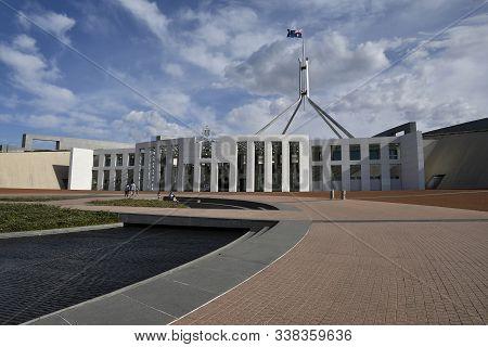 Campbell, Australia, April 2019 Tourist At Parliament House, Capital Hill
