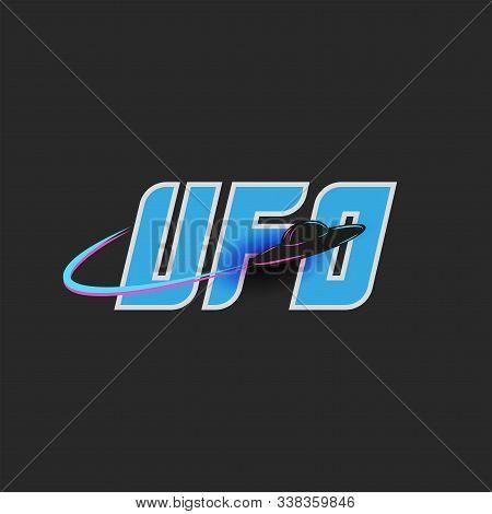 Ufo Logo Blue Lettering For T-shirt Print Emblem, Unidentified Flying Object, Alien Saucer Shape Bla