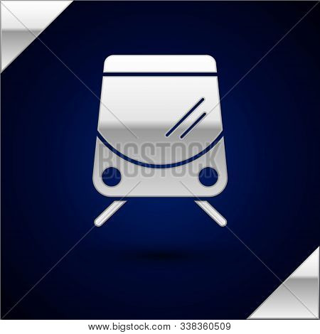 Silver Tram And Railway Icon Isolated On Dark Blue Background. Public Transportation Symbol. Vector
