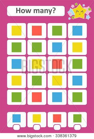 Counting Game For Preschool Children. The Study Of Mathematics. How Many Objects In The Picture. Col
