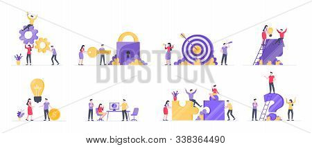 Teamwork Concept With Tiny People Characters Working Together Business Concept Elements Set. Teamwor