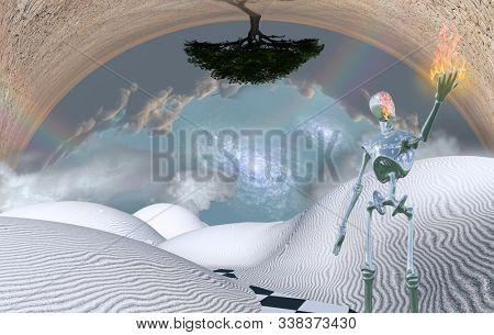 Surreal white desert. Alien holds earth in his hand. Green tree upside down. 3D rendering