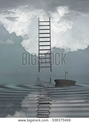 Ladder reflected in water with floating umbrella. 3D rendering