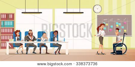 Disabled Person Job Interview Trendy Flat Vector Concept With Female Secretary Welcoming Man In Whee