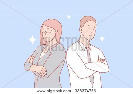 Teamwork, Partnership, Gender Equality Concept. Male And Female Coworkers. Professional Top Managers