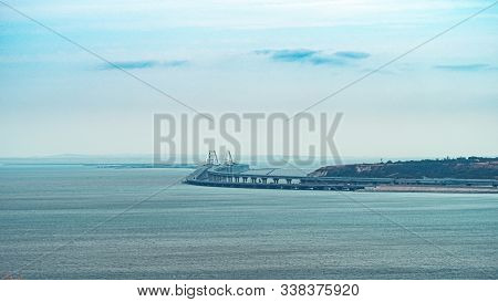 View On Kerch Bridge With Copy Space For Text. Finished Crimean Bridge - Panorama.