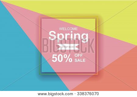 Spring Season Sale Background With Beautiful Colorful.creative Design Element Paper Cut And Craft St