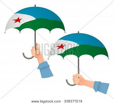 Djibouti Flag Umbrella. Social Security Concept. National Flag Of Djibouti Vector Illustration