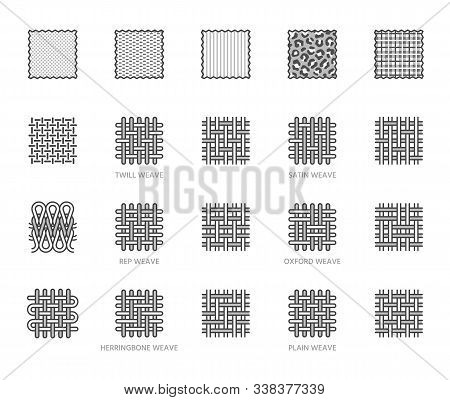 Fabric Sample Flat Line Icons Set. Weave Types, Different Clothing Materials, Textile Swatch, Animal