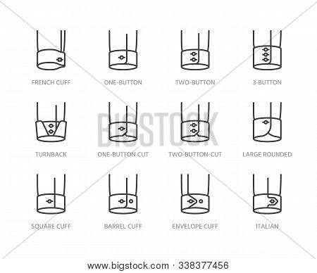 Shirt Cuffs Types Flat Line Icons Set. One Button, French Cuff, Turnback Sleeves Vector Illustration