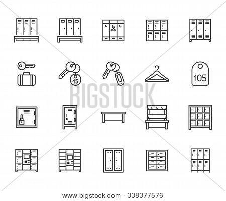 Locker Room Flat Line Icons Set. Gym, School Lockers, Automatic Left-luggage Office, Key Tag Vector