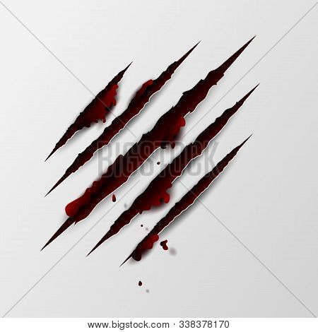 Illustration Of Claws Scratches Isolated With Red Blood On White Background. Creative Paper Craft An