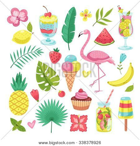 Summer Elements. Tropical Vacation Photo Booth Props. Flamingo, Ice Cream And Pineapple, Leaves And