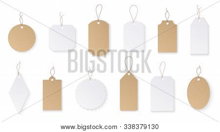 Price Tags. White Paper Blank Hanging Labels With String. Cardboard Shop Signs Mockups For Christmas