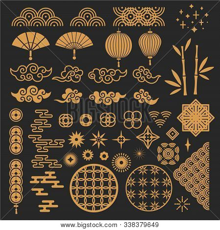 Chinese New Year Elements. Golden Asian Traditional Pattern, Cloud And Decorative Flower. Oriental L