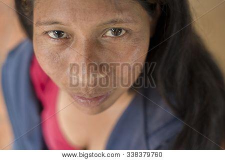 Palhoca, Santa Catarina, Brazil - November 02, 2015: Portrait Of Mid Adult Guarani Ethnicity Woman F