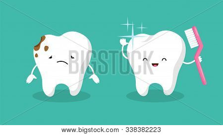 Teeth. Plaque Terth, Shiny White Tooth. Mouth Hygiene And Toothache. Dental Happy And Sad Vector Cha