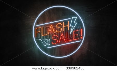 Flash Sale Neon Light On Wall. Sale Banner Blinking Neon Sign Style