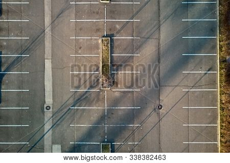 Aerial view of empty parking lot