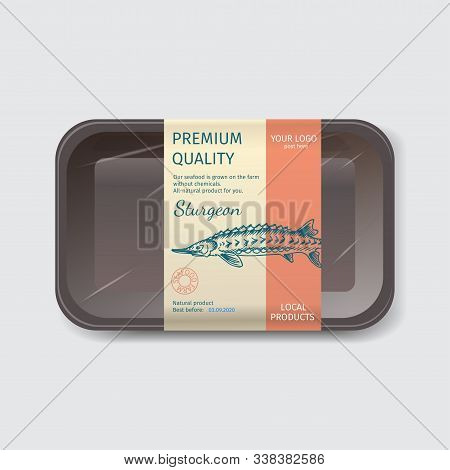 Packaging For Seafood. Label For Boxing Natural Products. Sturgeon.