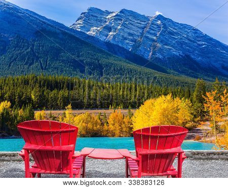Artificial Abraham lake reflects the golden foliage of aspen and birches. Rocky Mountains of Canada, Autumn flood of Abraham lake. Concept of active, ecological and photo tourism