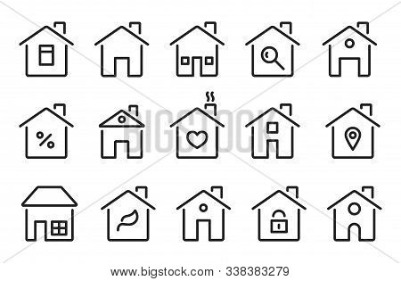 Home Icons. Thin Line Modern Houses, Homes With Roof, Windows Doors. Flat Hotel Cottage Residence Sy