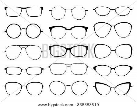 Glasses Silhouette. Stylish Frame Sunglasses, Eyeglasses Optical Eyesight Different Shapes, Frames A