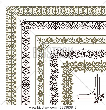 Seamless Corners. Filigree Flourish Ornament Borders For Wedding Card Vintage Tile Frame Vector Patt