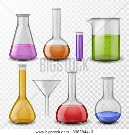 Chemical Background. Laboratory Experiment Chemical Equipment Glassware. Test Tubes, Glass Flasks Wi