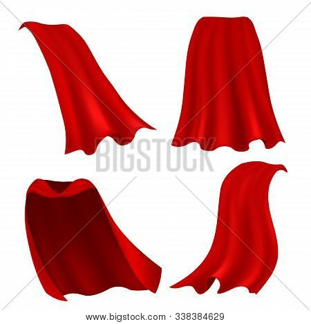 Red Cape. Realistic Draped Scarlet Cloak Front, Side And Back View, Silk Mantle Model Clothing, Carn