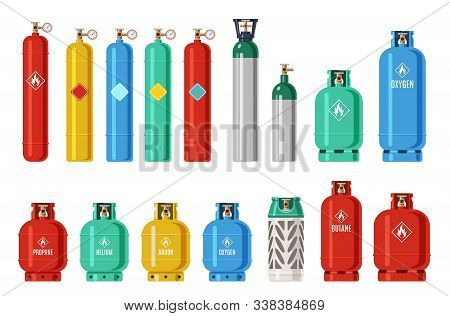 Gas Cylinders. Lpg Propane Container, Oxygen Gas Cylinder And Canister. Fuel Storage Liquefied Compr