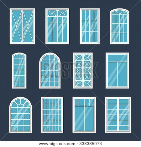 Window Exterior. Various Glass Windows Frame Types, Construction Sashes Design, Modern Architecture