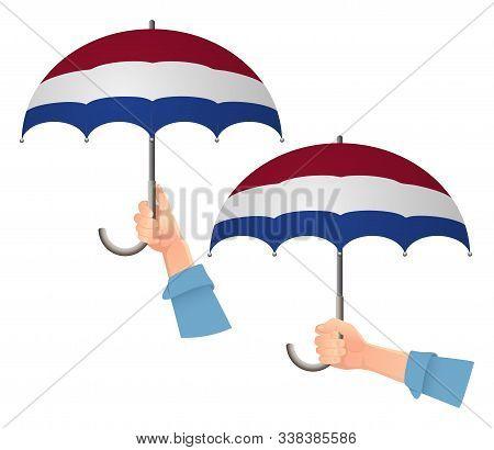 Netherlands Flag Umbrella. Social Security Concept. National Flag Of Netherlands Vector Illustration