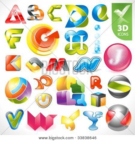 Set of vector design elements 17. 3D Alphabet icons.