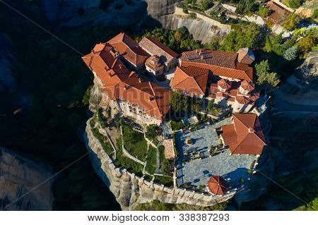 Aerial View From The Monastery Of The Varlaam On Top Of The Cliff  In Meteora Near Kalabaka, Trikala