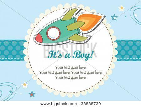 Baby boy rocket ship invitation