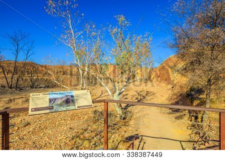 Uluru, Northern Territory, Australia - Aug 23, 2019: Signboard Of Ochre Pits A Minerals Rock Formati