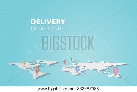 Smartphone Technology Application.delivery Service Concept.creative Map World Location Network Paper