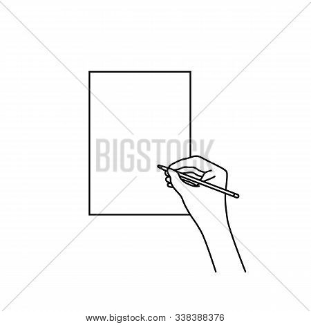 Female Hand Holding A Pen And Writing On Paper. Concept Of Blank With Empty Space For Work, Study An