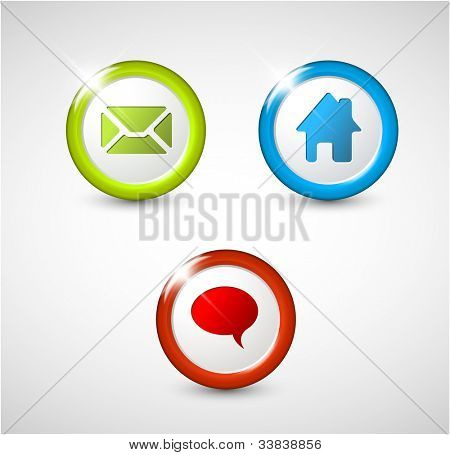 Set of round 3D buttons - home, email, chat, discussion
