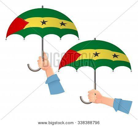 Sao Tome And Principe Flag Umbrella. Social Security Concept. National Flag Of Sao Tome And Principe