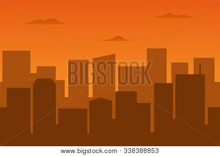 Brown Haze In Metropolis. Cityscape. Vector Illustration.