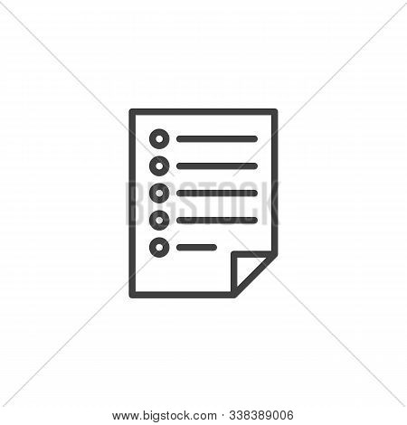 Questionnaire List Line Icon. Linear Style Sign For Mobile Concept And Web Design. Blank Checklist,