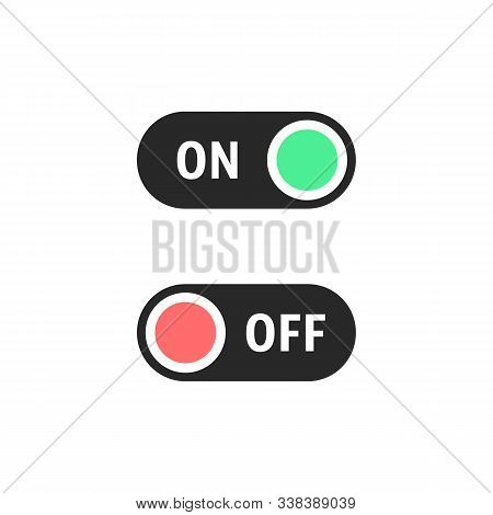 Black On And Off Switches Buttons. Concept Of Digital User Interface Element For Site Or Web And Sel