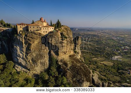 Aerial View From The Monastery Of The St. Stephen On Top Of The Cliff  In Meteora Near Kalabaka, Tri