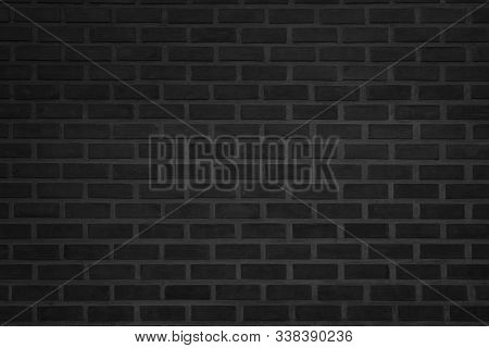 Abstract Wall Black Brick Wall Texture Background Pattern, Brick Surface Backgrounds. Vintage Brickw