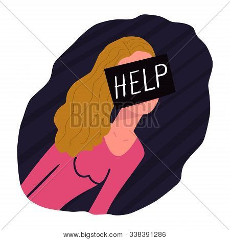 The Girl Asks For Help. On The Face Is A Black Square With The Text Help. Concept Of Sexual Abuse, P